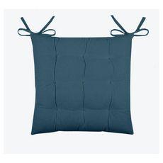 Galette de chaise matelassée unie en coton avec nouettes