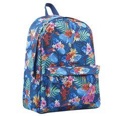 FREEGUN Sac à dos 1 compartiment bleu motifs fleurs