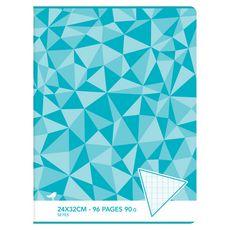AUCHAN Cahier piqué 24x32cm 96 pages grands carreaux Seyes bleu motif triangles