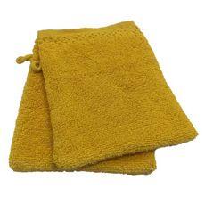 ACTUEL Lot de 2 gants de toilette unis en pur coton qualité Zéro Twist  500 g/m² (Jaune)