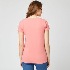 IN EXTENSO T-shirt manches courtes uni rose femme (Rose corail)