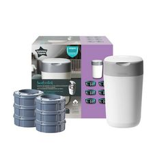 TOMMEE TIPPEE Starter Pack Twist & click Blanc bac + 6 recharges