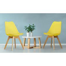 Lot de 2 chaises pieds bois massif LYDIA (Jaune)