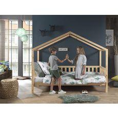 Lit cabane en bois massif avec barrières 90x200 cm ATLANTA