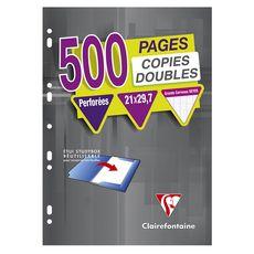 CLAIREFONTAINE  Lot de 125 copies doubles 21x29,7cm grands carreaux Seyes perforées