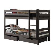 Lit superposé WOODY 90x200cm, séparables +tiroirs (Taupe)