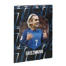 Chemise cartonnée à élastiques 3 rabats Griezmann 26x32cm noir et bleu