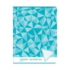 AUCHAN Cahier piqué 17x22cm 140 pages grands carreaux Seyes bleu motif triangles