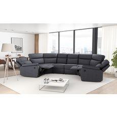 Canapé panoramique relax électrique 6 places HELENE tissu gris foncé