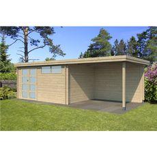 Abri jardin bois APETINA / toit plat avec auvent / 18.67m²