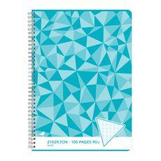 AUCHAN Cahier 21x29,7cm 100 pages grands carreaux Seyes à spirale bleu motif triangles