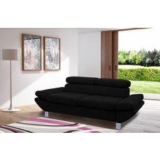 Canapé fixe 2 ou 3 places VERONA, tissu toucher doux, tétière et accoudoir réglables (Noir)