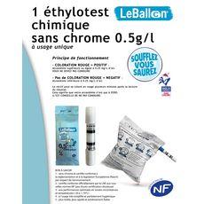 Lot de 10 Ethylotest 0,5g/l de sang à la norme NF 1 pièce