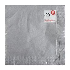 ACTUEL Serviettes en papier 40x40cm argent x20 3 plis 20 pièces