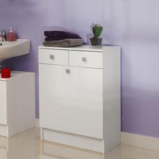 Meuble de salle de bain bas 2 tiroirs 1 bac à linge Blanc BATH (Blanc)