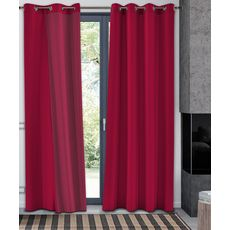 Rideau occultant thermique en polyester (Rouge)