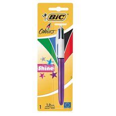 Stylo bille 4 couleurs rétractable pointe moyenne Shine Metallic Violet