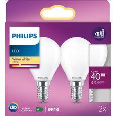 PHILIPS Ampoule LED E14 classique 40W - Blanc chaud dépolie