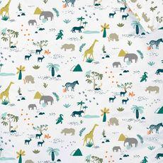 MATT & ROSE Parure housse de couette enfant en coton 57 fils réversible animaux de la savane  (Blanc)