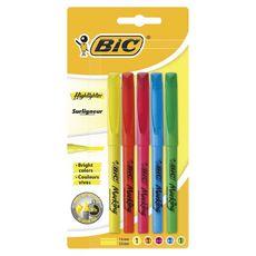 BIC Surligneurs pointe biseautée couleurs fluo assorties x5 x5