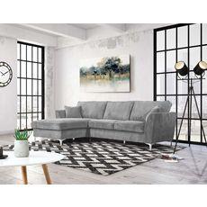 Canapé d'angle gauche MALIA 4 places, confort moelleux, tissu velours (gris clair)
