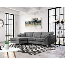Canapé d'angle gauche MALIA 4 places, confort moelleux, tissu velours (gris foncé)