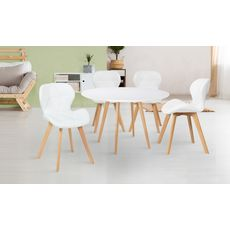 Lot de 4 chaises assise PU pieds bois massif NICKY (Blanc)