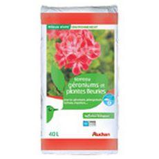 AUCHAN Terreau pour géraniums et plantes fleuries 40l 40l