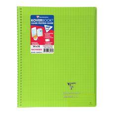 CLAIREFONTAINE Cahier à spirale polypro Koverbook 24x32cm 160 pages grands carreaux Seyes vert transparent