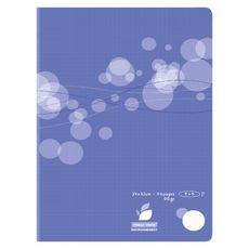 AUCHAN Cahier piqué polypro 24x32cm 96 pages petits carreaux 5x5 violet motif ronds