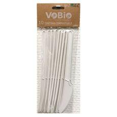 VOBIO Couteaux compostables blanc 100% amidon de maïs x10 10 pièces