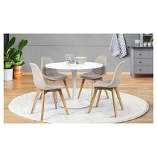 Lot de 4 chaises assise tissu pieds bois massif ORNELLA (Beige)