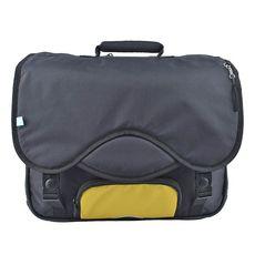 AUCHAN Cartable 41 cm CM1/CM2 noir avec pochette jaune