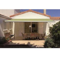 INTERSUN Store manuel 4x3m ROMA toile unie coffre intégral blanc  (Vert anis)