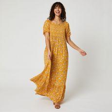 IN EXTENSO Robe longue jaune fleuris femme