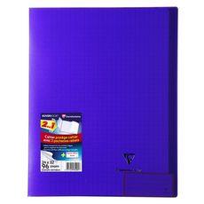 CLAIREFONTAINE Cahier piqué polypro Koverbook 24x32cm 96 pages grands carreaux Seyes violet transparent