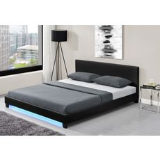Lit LED avec tête de lit et sommier à lattes 140x190 cm MARTIN
