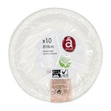 ACTUEL Assiettes à dessert 18cm compostables blanches x10 10 pièces