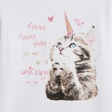IN EXTENSO T-shirt manches longues chat fille (Blanc)