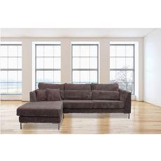 Canapé d'angle 5 places piétement métal  tissu velours coloris gris FANY