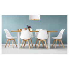 Lot de 6 chaises pieds bois massif LYDIA (Blanc)