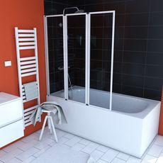 Aurlane Pare Baignoire triple blanc - 143 x 125 cm