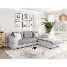 Canapé d'angle droit convertible CLELIA, 4 places, tissu microfibre gris PU blanc ou noir (Gris et blanc)