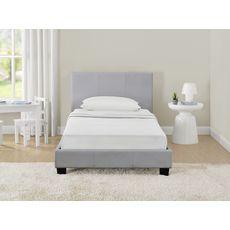 Lit avec tête de lit et sommier à lattes 90x190 cm MARTIN (Gris)