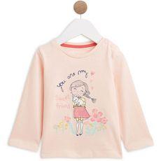 IN EXTENSO T-shirt manches longues coton bio bébé fille (Rose corail)