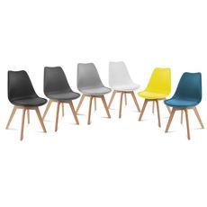 Lot de 6 chaises pieds bois massif LYDIA (Gris foncé)