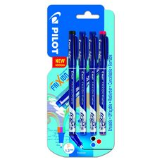 Lot de 4 FriXion Fineliner - Feutres d'écriture effacable- Noir Bleu Bleu Rouge