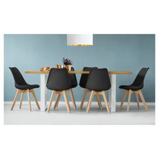 Lot de 6 chaises pieds bois massif LYDIA (Noir)