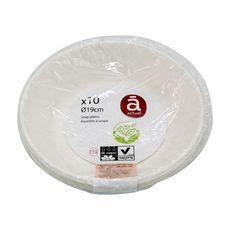 ACTUEL Assiettes à soupe en carton blanc 19cm compostables x10 10 pièces