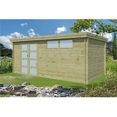 Abri jardin bois APETINA / toit plat / Traité autoclave / 12.92m²